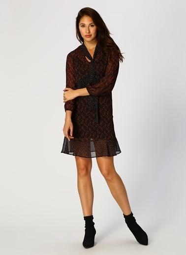 Random Desenli Şifon Elbise Siyah